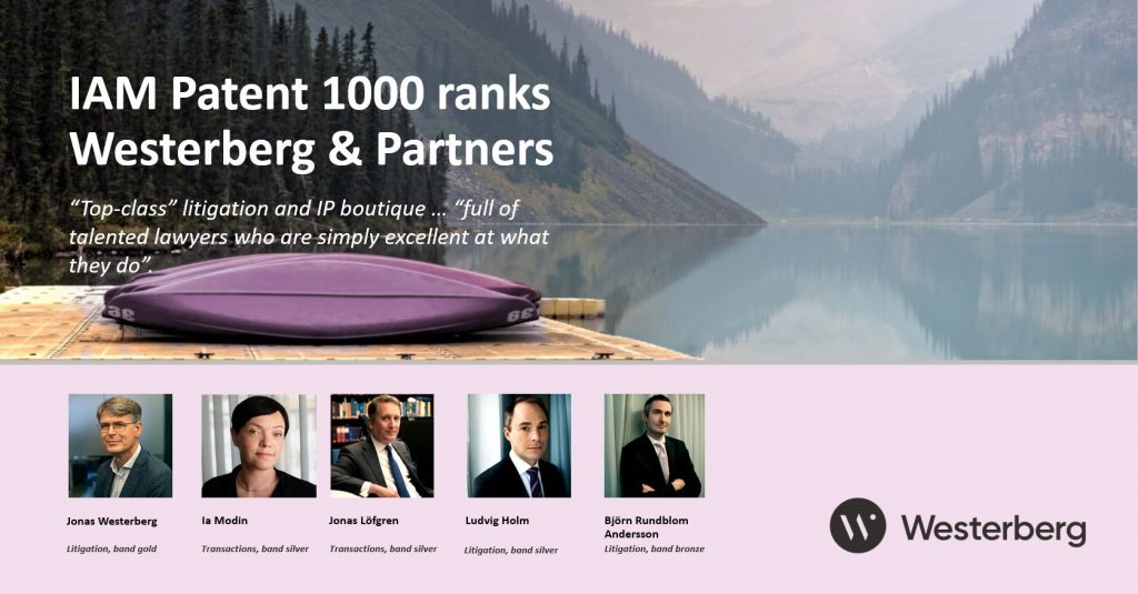 IAM Patent 1000 ranks Westerberg & Partners.