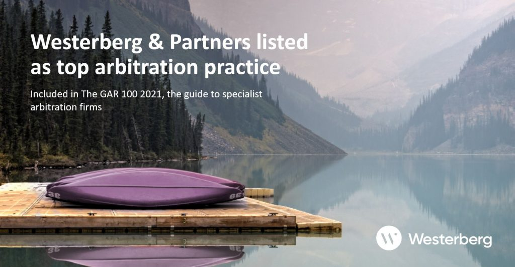 Westerberg & Partners listed as top arbitration practice.